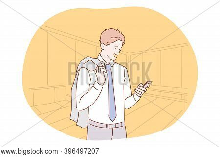 Smartphone, Online Communication, Chatting Concept. Young Businessman Standing With Smartphone In Ha