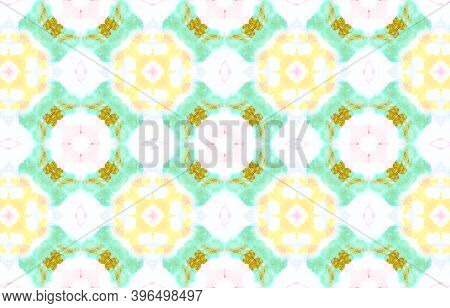 Water Colour Motif. Drawn By Hand Ornamental Background. Colorful And White Color. Abstract Tie Dye