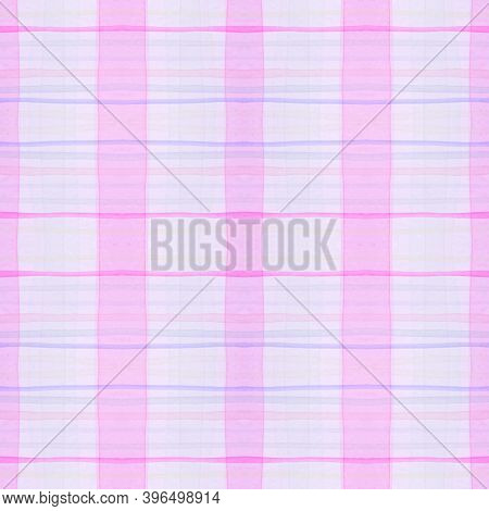 White Pajama Pattern. Wool Seamless Picnic Repeat. Watercolor Squares For Twill Design. Girly Elegan