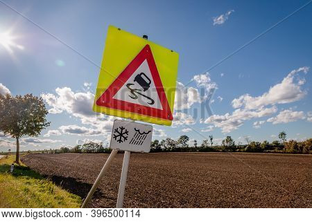 Set Of 3 Road Signs. Slippery Road Sign, Rain Sign And Ice Warning Sign. Sunny Weather, Austrian Fie
