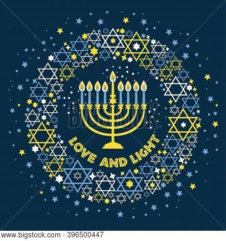Jewish Holiday Hanukkah Greeting Card Traditional Chanukah Symbols - Menorah Candles, Star David Ill