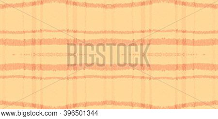 Yellow Tartan Pattern. Watercolor Picnic Textile. Woven Squares For Kilt Print. Seamless Orange Tart