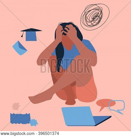 Creative Fatigue. Young Woman Sits On The Floor, Clutching Her Head.professional Burnout, Dismissal,