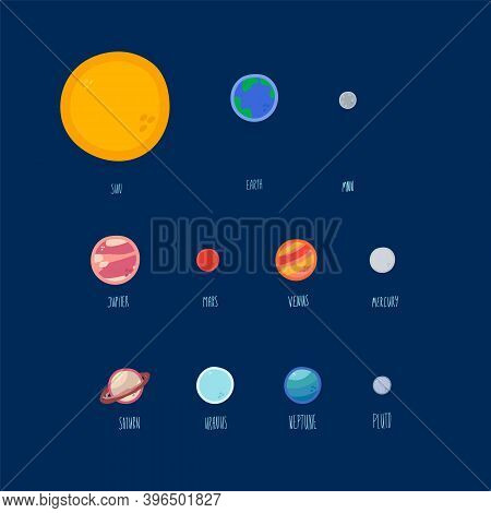Cute Cosmic Set Of Illustrations. Cartoon Global Picture Of A Planetary, Cosmic, Milky Way. Collecti