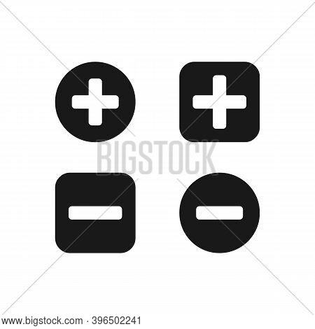 Add, Remove, Delete, Close Icon Set. Plus And Minus Symbol Isolated. Vector Eps10