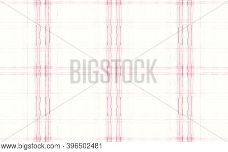 Girl Pajama Pattern. Woven Seamless Tartan Textile. Watercolor Stripes For Fabric Print. White Pink