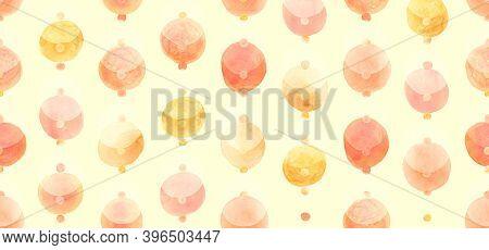 Seamless Wrapping Paper Design. Red Random Circles Wallpaper. Orange Decorative Spots. Aquarelle Cir