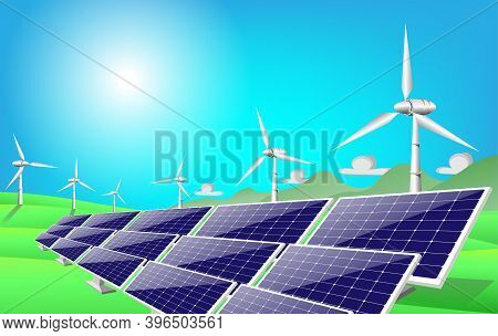 Isolated Vector Illustration Of Clean Electric Energy From Renewable Sources Sun And Wind, Wind Turb