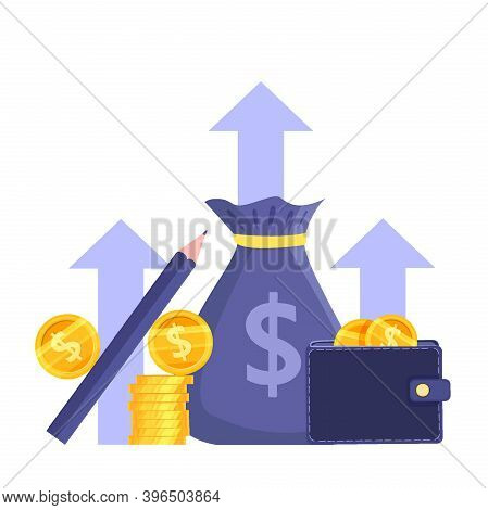 Income Growth Or Revenue Increase Stock Market Vector Concept With Coin Stack,wallet,dollars,money B