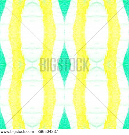Abstract Kaleidoscope Seamless. Green And Yellow Aztec Style. Geometric Tie Dye Wallpaper. Rough Abs