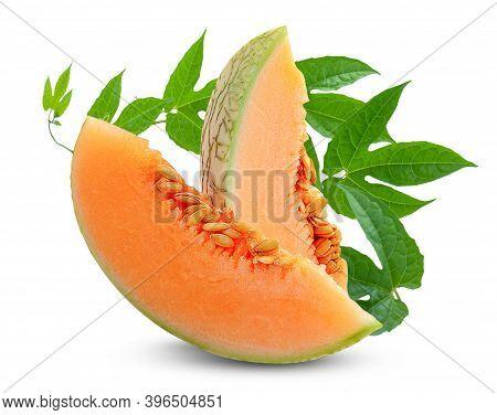Fresh Cantaloupe Or Melon Fruit Isolated On White Background
