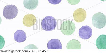 Seamless Polka Dots Background. Watercolor Circles Repeat. White Kid Wallpaper. Graphic Blots Paper.