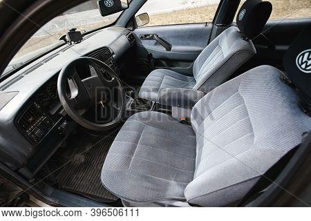 Grodno, Belarus - January 2018: Volkswagen Passat B3 Gt 1.8 Volkswagen Passat, Cockpit Interior Deta
