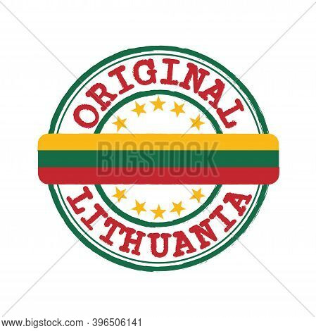 Vector Stamp Of Original Logo With Text Lithuania And Tying In The Middle With Nation Flag. Grunge R