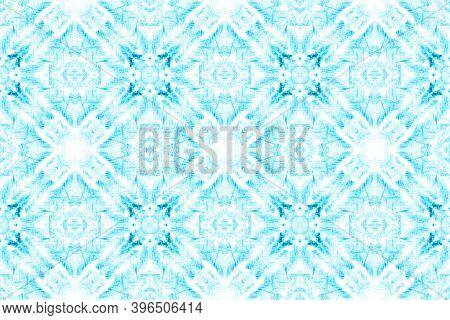 Tunisian Tile. Geometric Bohemian Wallpaper. Artistic Repeating Tribal Fabric Design. Blue And White