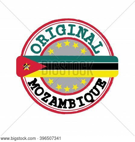 Vector Stamp For Original Logo With Text Mozambique And Tying In The Middle With Nation Flag. Grunge
