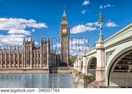 Big Ben And Houses Of Parliament With Bridge In London, England, Uk