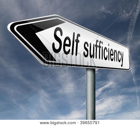 self sufficiency sustainable renewable energy and agriculture auto sufficient and simple living,road sign arrow