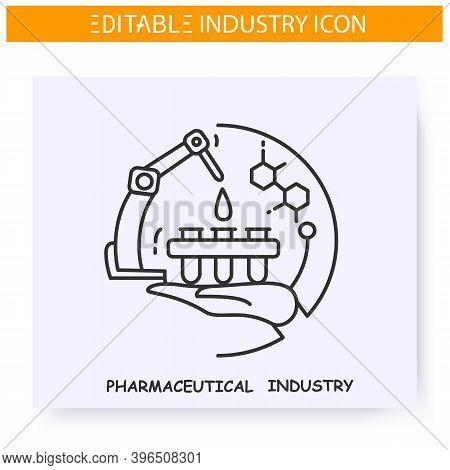 Pharmaceutical Industry Line Icon. Chemical Invention. Medicines Production Technology. Contemporary