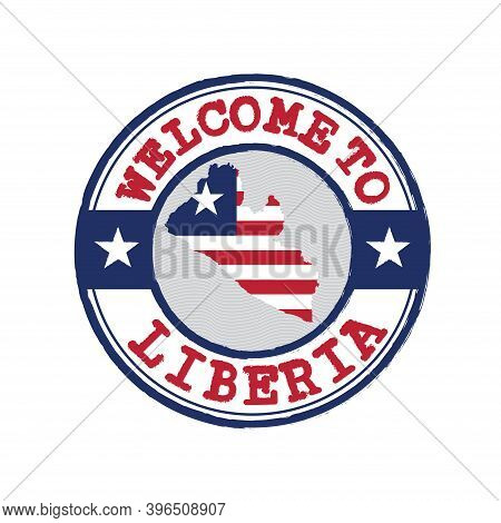 Vector Stamp Of Welcome To Liberia With Map Outline Of The Nation In Center. Grunge Rubber Texture S