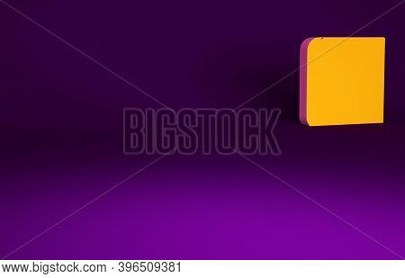 Orange Book With Pistol Or Gun Icon Isolated On Purple Background. Police Or Military Handgun. Small