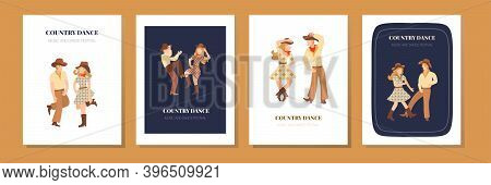 Vector Template For Concert Poster Or Flyer With Dancing Country Couple Cowboy And Cowgirl. Cheerful