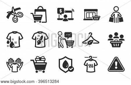 Slow Fashion, Sale Bags And Wash T-shirt Icons Simple Set. Buyer, Marketplace And Buyer Think Signs.