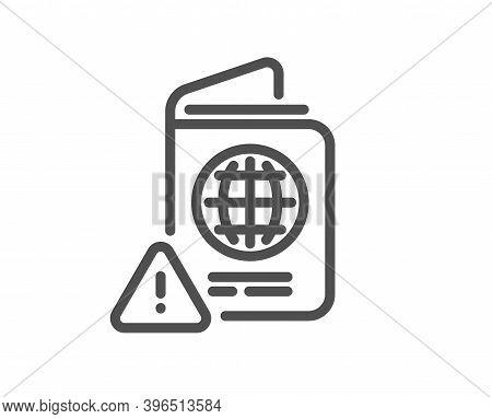 Passport Warning Line Icon. Attention Triangle Sign. Citizenship Document Alert Symbol. Quality Desi