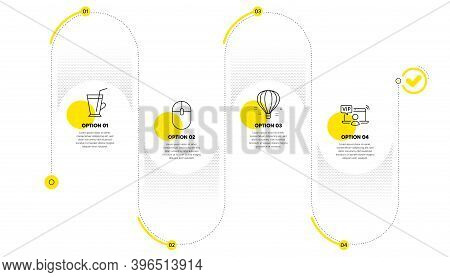 Air Balloon, Computer Mouse And Coffee Cup Line Icons Set. Timeline Process Infograph. Vip Access Si