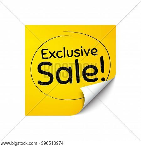 Exclusive Sale. Sticker Note With Offer Message. Special Offer Price Sign. Advertising Discounts Sym
