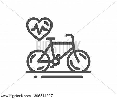 Cardio Bike Training Line Icon. Bicycle Exercise Sign. Gym Fit Heartbeat Symbol. Quality Design Elem