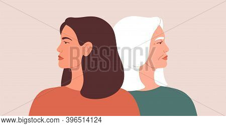 Generation Gap Concept. A Young Woman And Mature Female Look Away From Each Other During Conflict Or