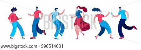 Boys And Girls In Masks Have Fun Dancing At The Disco. Vector Illustration On The Theme Of A Party D