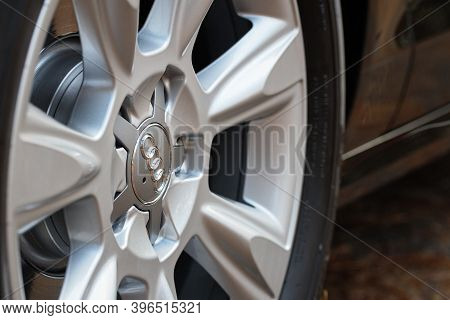 Grodno, Belarus - December 2019: Audi A6 4g C7 Luxury Car Closeup Alloy Wheel Part Side View With Ti