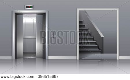 3d Realistic Vector Office Building Elevator With Half Closed Doors And Stairs.