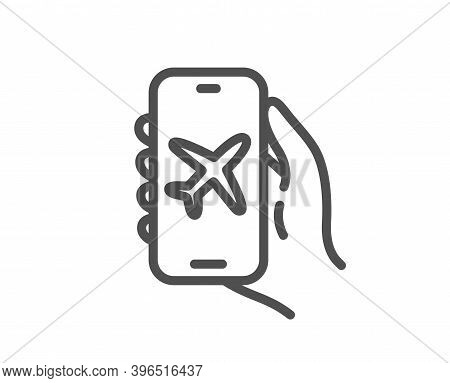 Flight Mode Line Icon. Hand Hold Phone Sign. Cellphone With App Screen Notification Symbol. Quality