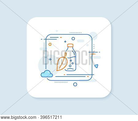Water Bottle Line Icon. Abstract Square Vector Button. Soda Aqua Drink Sign. Mint Leaf Symbol. Water