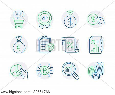 Finance Icons Set. Included Icon As Survey Checklist, Pie Chart, Money Bag Signs. Bitcoin System, Co