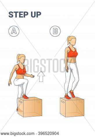 Step Up Exercise For Female Home Workout Colorful Illustration Guidance
