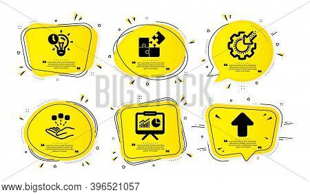 Puzzle, Consolidation And Presentation Icons Simple Set. Yellow Speech Bubbles With Dotwork Effect.
