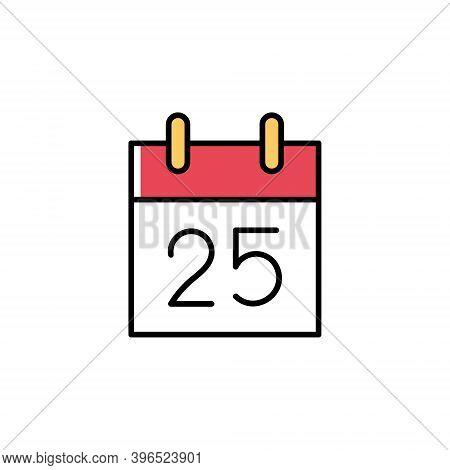 Cute Tear-off Calendar With 25 December Vector Icon In Trendy Minimalist Style For Christmas. Tear-o