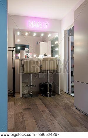 Workplace Of Makeup Artist. Barbershop. Neon Inscription