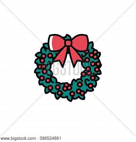 Cute Holly Wreath With Berries Vector Icon In Trendy Cartoon Style. Colorful Christmas Holly Wreath