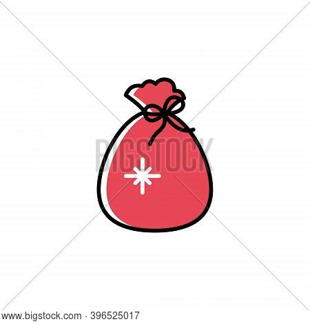 Christmas Santa Sack Vector Icon In Cartoon Style. Cute Red Santas Gift Sack Isolated On White Backg