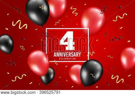 4 Years Anniversary. Anniversary Birthday Balloon Confetti Background. Four Years Celebrating Icon.