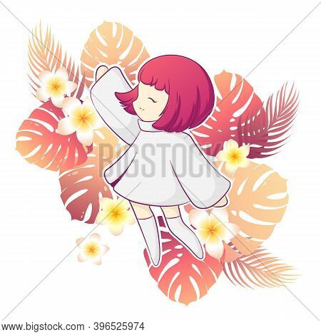 Vector Illustration With Cute Kawaii Anime Girl Character And Colorful Tropical Plants