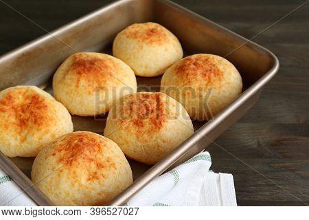 Closeup Fresh Baked Homemade Brazilian Cheese Bread Or Pao De Queijo In The Baking Tray