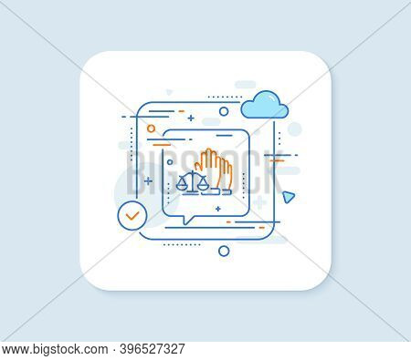 Court Jury Voting Line Icon. Abstract Vector Button. Justice Scales Sign. Judgement Law Symbol. Cour