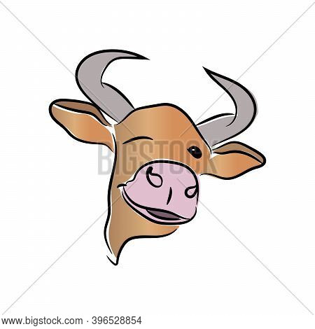 The 2021 Festive Colorful Bull Winks And Smiles. The Bull Is Isolated On A White Background. Vector