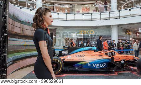 Minsk, Belarus - 27 September 2020: Presentation Show Mclaren Racing Car Bolide On Display Formula1